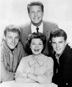 Cast/family photo of the Nelsons from the television program The Adventures of Ozzie and Harriet. From left: David, Ozzie, Rick, and Harriet in the center.
