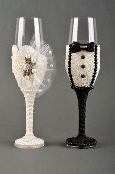 Dekoration Hochzeit handgemachte Hochzeit Deko tolle schöne Sektgläser   eBay