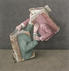 Surreal Art - A Literary Struggle, 2002 Wc On Paper by Jonathan Wolstenholme Surrealism Painting, Big Canvas, Illustrations, Book Of Life, Surreal Art, Love Book, Art For Sale, Sculpture, Book Worms
