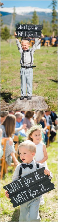 """Ring bearer, outdoor wedding ceremony, black bow tie, suspenders, black wooden sign, """"Wait for it... Wait for it..."""" // Nate Messarra Photography"""