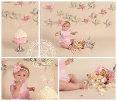 Pinwheels and Polka Dots | Virginia Beach Birthday Cake Smash Photos | Kimberlin_Gray_Photography