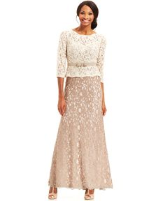Adrianna Papell Three-Quarter-Sleeve Colorblock Lace Gown