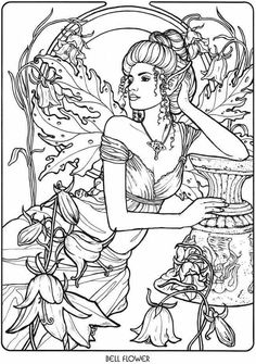 Bellflower Fairy Fae Fantasy Myth Mythical Mystical Legend Elf Wings Elves Faries Coloring Pages Colouring Adult Detailed Advanced Printable Kleuren