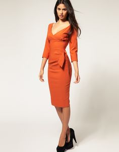 Hybrid | Hybrid Dress with 3/4 Sleeves and Side Bow at ASOS