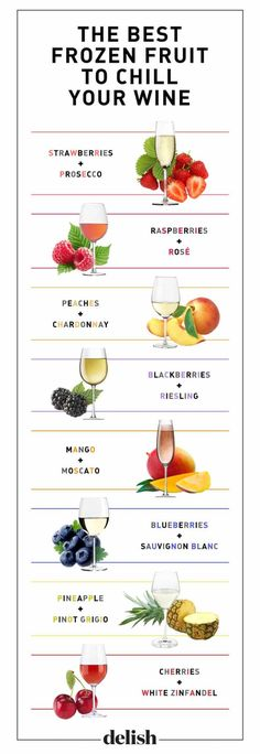 Frozen Fruit for Wine Chillers | House Beautiful and other genius party hacks and tips #party #partyplanning #hacks #lifehack #wine #fruiticecubes #cocktail #backyardparty #bbq #partyideas #partytips