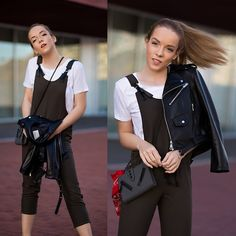 Get this look: http://lb.nu/look/8301253  More looks by Silver Girl: http://lb.nu/silvergirl  Items in this look:  Alexander Wang White T Shirt, Mango Khaki Jumpsuit, Zara Black Leather Jacket, Kenzo Kalifornia Bag, Urban Outfitters Red Bandana, 3.1 Phillip Lim Leather Mules   #casual #edgy #sporty #jumpsuit #militarygreen #whitetshirt #everyday #seaside #deck