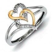 Sterling Silver & 14K  Two Tone Diamond Double Hearts Ring - Promise Ring