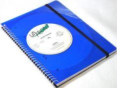 Notizbuch Blue Vinyl,  Schallplatten upcycling made by VinylKunst Aurum - Schallplatten Upcycling der besonderen ART via DaWanda.com