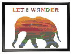Let's Wander Jungle Elephant Cross Stitch Pattern, Modern Cross Stitch, elephant lovers collectible decor, instant download pattern