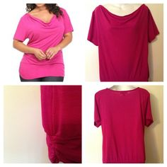 EUC Retro Look Torrid Twist Tees Magenta Pink Drape Neck Shirred Side Top 0x.
