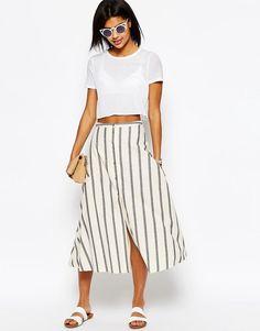 Image 1 ofASOS Button Through Midi Skirt in Natural Stripe