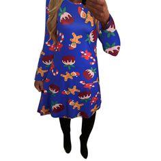 2016 Plus Size Women Xmas Print Dress Long Sleeve Casual Autumn Dress Fashion Christmas Holiday Party Flared Mini Dress Vestidos