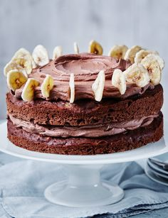 This low sugar chocolate and banana cake is made extra special with a chocolate cream cheese icing and banana chips on top