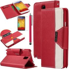 Note 3 Case, Galaxy Note 3 Flip Case - ULAK Luxury PU Leather Colorful Wallet Magnetic Case for Samsung Galaxy Note 3 Note III N9000 with Screen Protector and Stylus (Red/White) ULAK http://www.amazon.com/dp/B00G45PV90/ref=cm_sw_r_pi_dp_CzGkub0F5239C