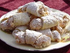 This is a traditional recipe for Yugoslavian cookies called Kifle. There are different fillings for these cookies but my favourite is the walnut! Time to make does not include chilling time. Walnut Cookie Recipes, Walnut Cookies, Croatian Recipes, Hungarian Recipes, Slovenian Food, Eastern European Recipes, Kolaci I Torte, Christmas Baking, Cookies Et Biscuits