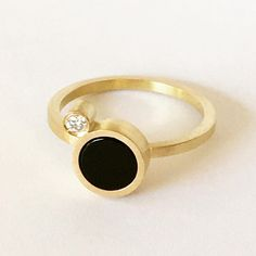18 karat gold ring with onyx and diamond - Det'nlarsen by Charlotte Larsen - one of a kind - contemporary Jewellery Gold Rings, Gemstone Rings, Contemporary Jewellery, Minimalist Jewelry, Charlotte, Fine Jewelry, Wedding Rings, Engagement Rings, Diamond