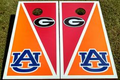 UGA / Auburn house divided cornhole set. collegiate bag toss tailgating and family fun games cornhole boards