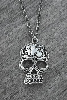 Lucky 13 Silver Skull Necklace by Ink & Roses 13 Skull Necklace, Skull Jewelry, Goth Jewelry, Necklace Chain, Metal Jewelry, Jewelry Box, Jewelry Necklaces, Los Muertos Tattoo, Anchor Jewelry