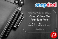 Snapdeal is offering up to 90% Discount on Premium Pens including Parker, Sheaffer, Cross, Lamy, Waterman & many more brands.  http://www.paisebachaoindia.com/premium-pens-discount-up-to-90-snapdeal/