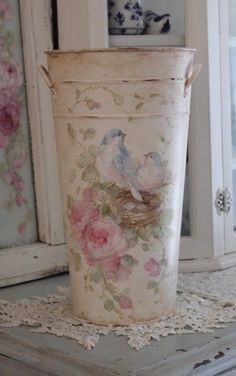 Shabby Vintage Style Bluebird Roses and Nest Floral Bucket