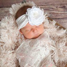 Pink Baby Headband, White Baby headbands,Newborn headband, Baptism Christening Headband, Baby Hair Bows,Easter Headband,White headband.
