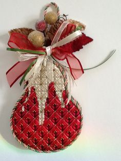 Adorable Kelly Clark needlepoint pear finished for Luv 2 Stitch in Ca.