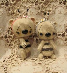 Crochet thread artist PATTERN teddy bear mini miniature how to Honey Bumble Bee Amigurumi