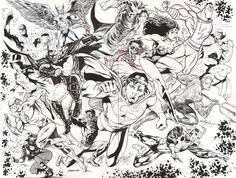 Justice League jam piece (2012-2016) - Eddy Barrows Ivan Reis Rod Reis Carlos Magno Julio Ferreira et al Superman Batman Wonder Woman Flash Shazam Green Arrow Black Canary Firestorm Green Lantern Comic Art