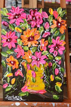 Milly's Bouquet - a 12x18 impasto painting by Barbara Scharpf of Creative Womanhood. 215.00 #impasto #acrylic #bouquet #pink #texture