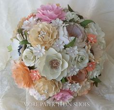 Paper bouquet paper flower bouquet wedding bouquet peach and paper bouquet paper flower bouquet wedding bouquet toss bouquet country chic custom made any color mightylinksfo