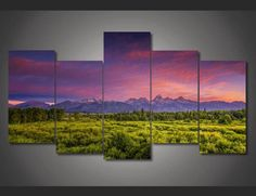 Style Your Home Today With This Amazing 5 Pieces Multi Panel Modern Home Decor Framed Mountain View Sunset Wall Canvas Art For $99.98  Discover more canvas selection here http://www.octotreasures.com  If you want to create a customized canvas by printing your own pictures or photos, please contact us.