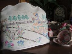Gorgeous Vintage Embroidered Cottage Garden Crinoline Lady Tea Cosy