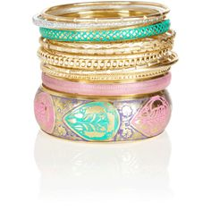 Pastel Bangle Set (430 ARS) ❤ liked on Polyvore featuring jewelry, bracelets, accessories, jewels, bangles, women, bangle bracelet, pastel jewelry, bangle set and hinged bangle