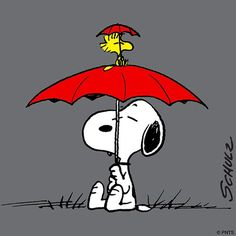 We're Covered - Woodstock Holding Umbrella and Sitting on Top of Snoopy's Umbrella