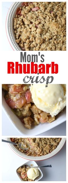 Moms Classic Rhubarb Crisp - Made this. Cut white sugar to no cinnamon, add ginger to rhubarb, poured some orange juice over the rhubarb layer, bake at 350 for 50 min. Rhubarb Desserts, Desserts To Make, Köstliche Desserts, Summer Desserts, Delicious Desserts, Food To Make, Yummy Food, Fun Food, Rhubarb Dishes