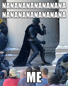 I laugh at this photo every time I see it. It captures a real Batman fans' sense of humor.