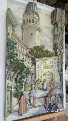 Neriman's papertole#Galata Kulesi#Sümbül Eldek Paper Clay, 3d Paper, Book Sculpture, Sculptures, Shadow Box Art, Paper Engineering, Art Corner, Wooden Projects, Egyptian Art