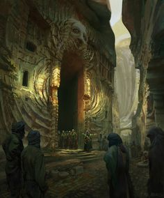 """Fremen Sietch and Sietch Entrance - Dune fan art by Finnian Macmanus """"Always thought it would be interesting to explore a fremen society that travelled through smaller sietches, taking up their..."""