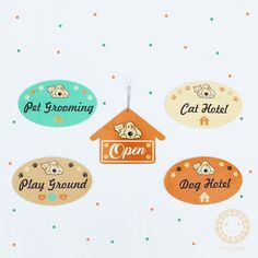 A set signage for pet shop. Made by laser cutting acrylic Cute signage for shop