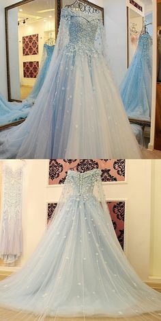 Long Sleeves Light Sky Blue Tulle Prom Dress with Beading Appliques ice blue prom dresses, off the shoulder prom dresses, women's prom dresses Modest Prom Gowns, Prom Dresses Blue, Pretty Dresses, Formal Dresses, Disney Prom Dresses, Formal Prom, Formal Wear, Light Blue Quinceanera Dresses, Beautiful Prom Dresses
