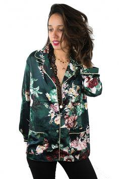 Blouse pyjama fleurs verte