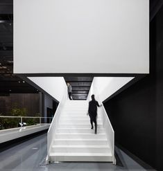 Completed in 2017 in Yongin-si, South Korea. Images by Nam June Paik Art Center. The Nam June Paik Art Center renovation project reconfigures approximately sf of the existing museum (about one-third of the publicly. Modern Staircase, Staircase Design, Architecture Details, Interior Architecture, Nam June Paik, Open Gallery, Concrete Stairs, Brick And Mortar, Interior Stairs