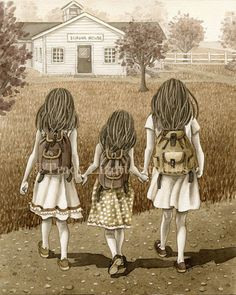 Walk to School - Tracy Lizotte Studios Three Sisters, Little Sisters, Watercolor Print, Watercolor Paintings, Illustrations, Illustration Art, Mother Daughter Art, Walk To School, Creation Photo