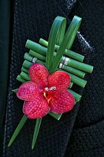 Exotic Boutonniere Of: Hot Pink Orchid, Green Bamboo Shoots, & Green Lily Grass^^^^ Design Floral, Deco Floral, Arte Floral, Corsage And Boutonniere, Boutonnieres, Orchid Boutonniere, Floral Wedding, Wedding Bouquets, Button Holes Wedding