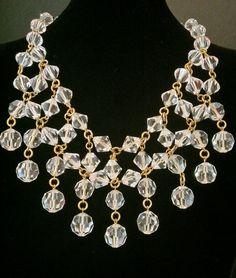 Beautiful Crystal Bib Necklace Large Stunning Showpiece