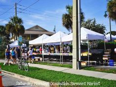 Saturday morning Farmer's Market on Ocean Drive. Vero Beach Florida, Ocean Drive, Beach Town, Yesterday And Today, Saturday Morning, Street View, Outdoor Decor, Beauty, Places