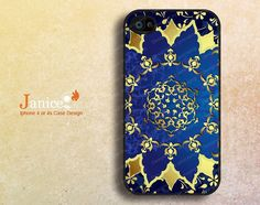iphone 4 case iphone 4s case iphone 4 cover with blue background and gold printing  unique Iphone case(F00339) on Etsy, $8.39