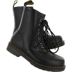 Dr Martens Women's DRENCH 8-eye black vulcanized rubber boot 14822001 ($100) ❤ liked on Polyvore featuring shoes, boots, ankle booties, footwear, shoes - boots, wellington boots, kohl boots, rain boots, black rubber boots and black boots