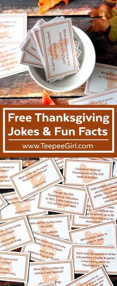 Use these free Thanksgiving Joke/Fun Fact cards to decorate tables, use as lunch box notes, Thanksgiving party decor, or just for fun! www.TeepeeGirl.com Thanksgiving Facts, Hosting Thanksgiving, Thanksgiving Traditions, Family Thanksgiving, Thanksgiving Parties, Thanksgiving Activities, Decorating For Thanksgiving, Thanksgiving Dinner Tables, Thanksgiving Countdown