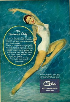 PIN UP GIRLS IN VINTAGE ADS: When Advertising Boasted of Curves | For Swimmers Only!